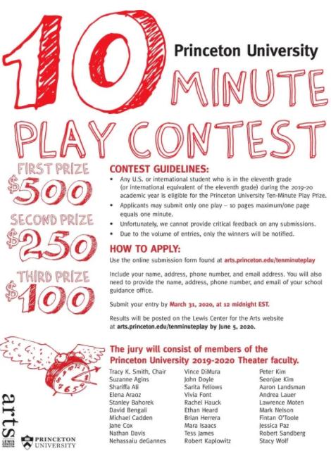 princeton university 10 minute play contest 2020